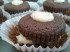 Chocolate cupcakes with textured coconut frosting